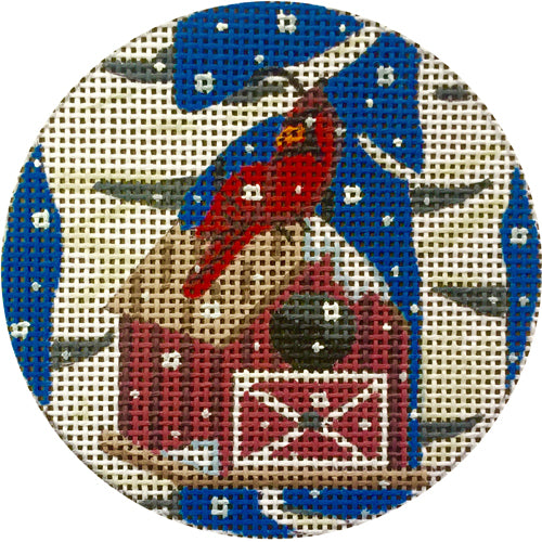 Cardinal and Birdhouse Canvas-Needlepoint Canvas-Alice Peterson-KC Needlepoint