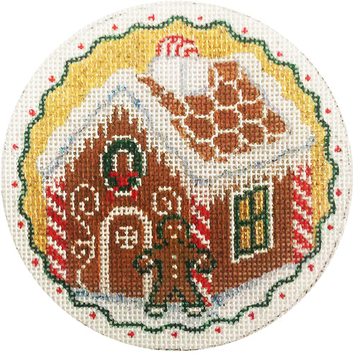 Gingerbread House Round Canvas-Needlepoint Canvas-KC Needlepoint