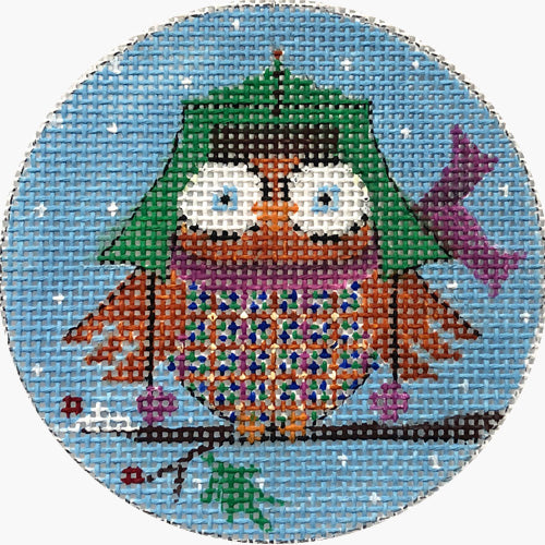 Owl with Green Hat Canvas-Needlepoint Canvas-Alice Peterson-KC Needlepoint