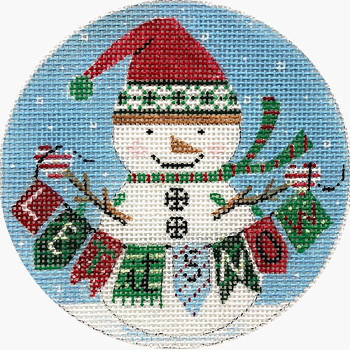 Snowman with Sign Canvas-Alice Peterson-KC Needlepoint