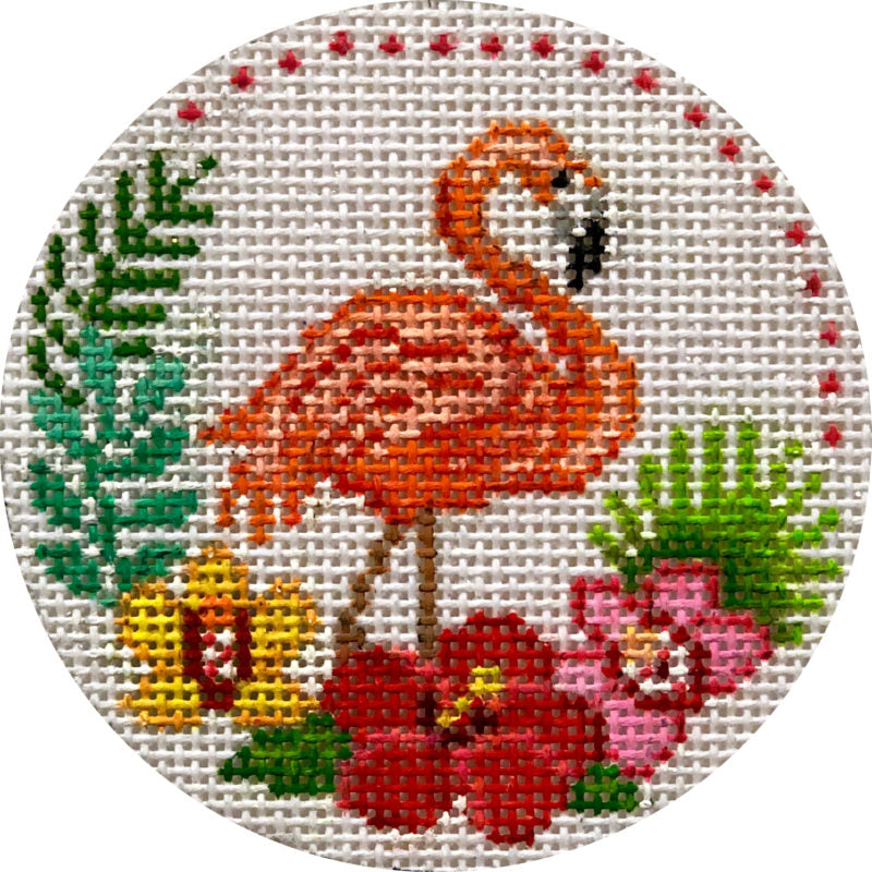 Flamingo and Tropical Flowers Canvas - needlepoint