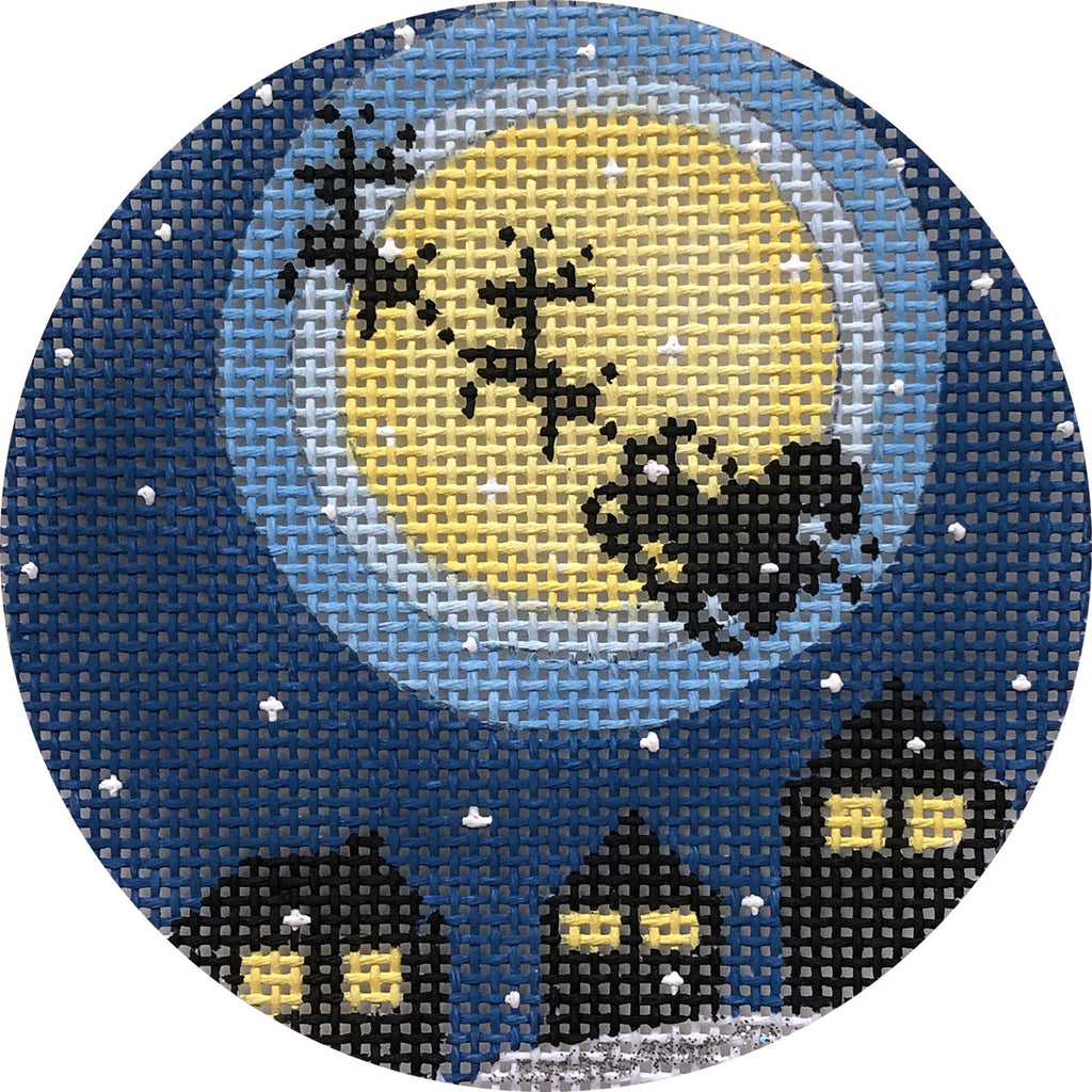 Santa's Flight Ornament Canvas - needlepoint