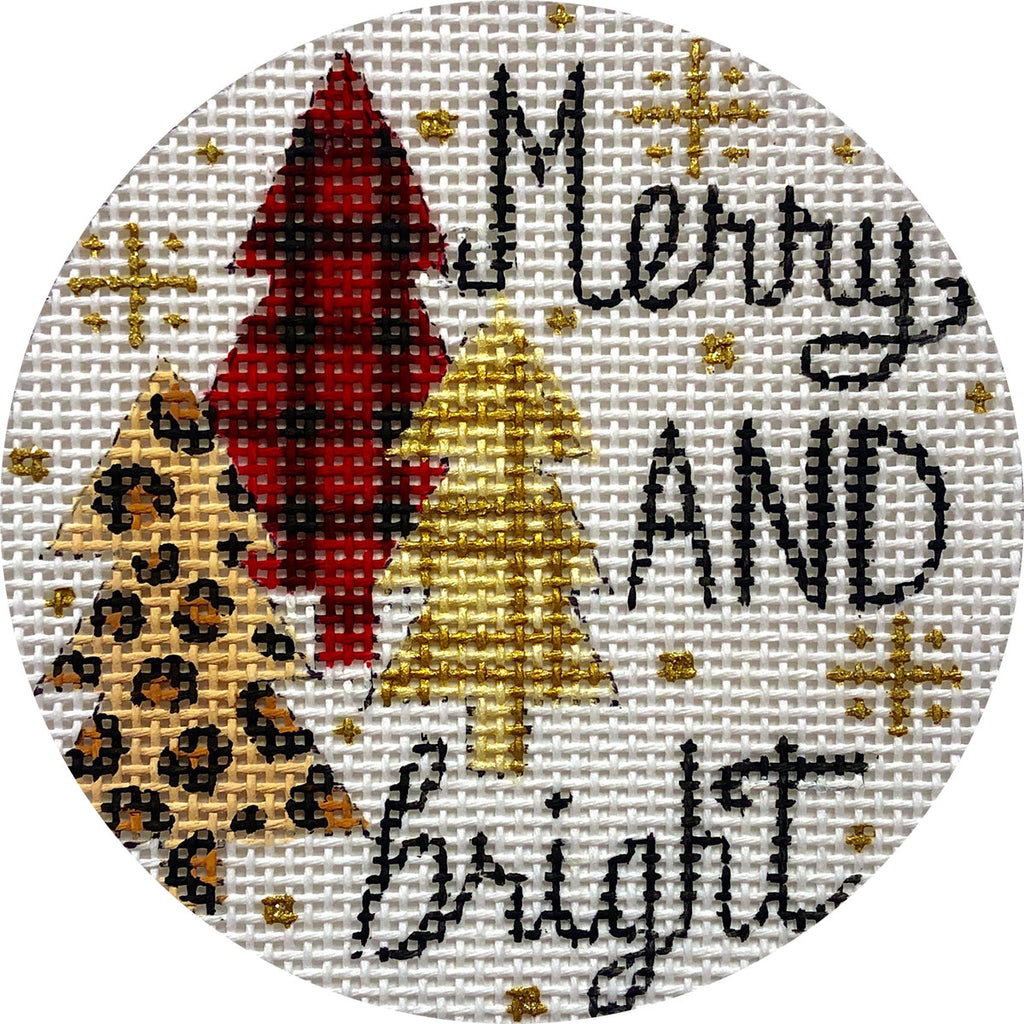 Mary and Bright Patterned Trees Canvas-Needlepoint Canvas-KC Needlepoint