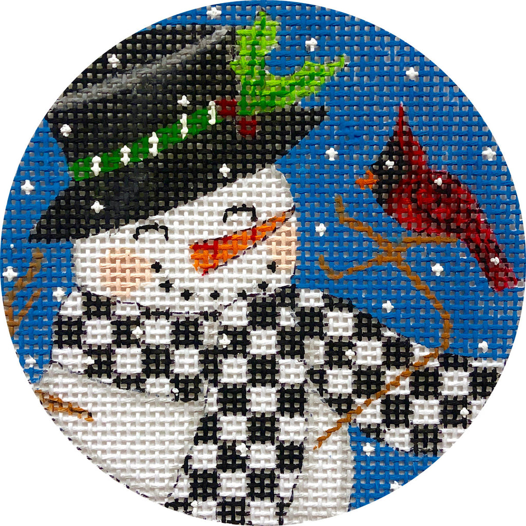 Snowman & Cardinal Canvas - KC Needlepoint