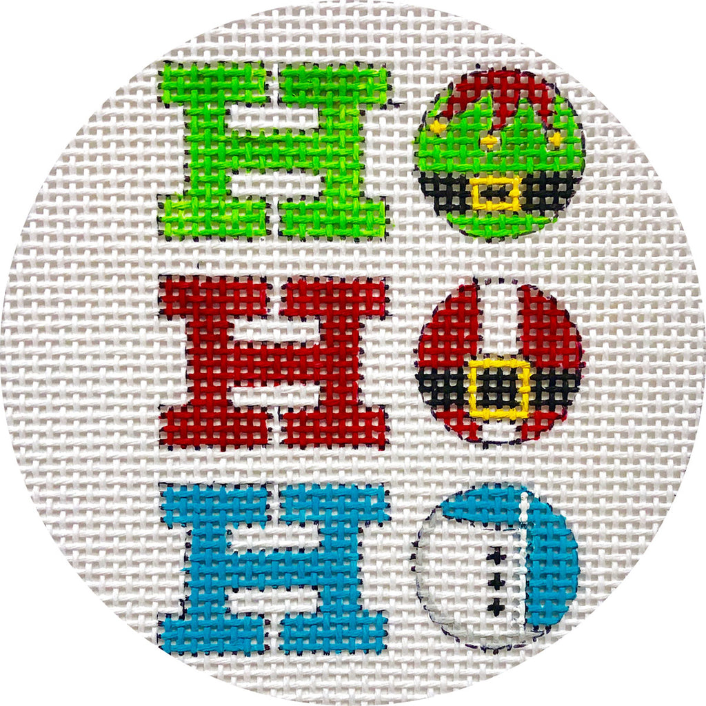 Ho Ho Ho Round Canvas-Needlepoint Canvas-KC Needlepoint