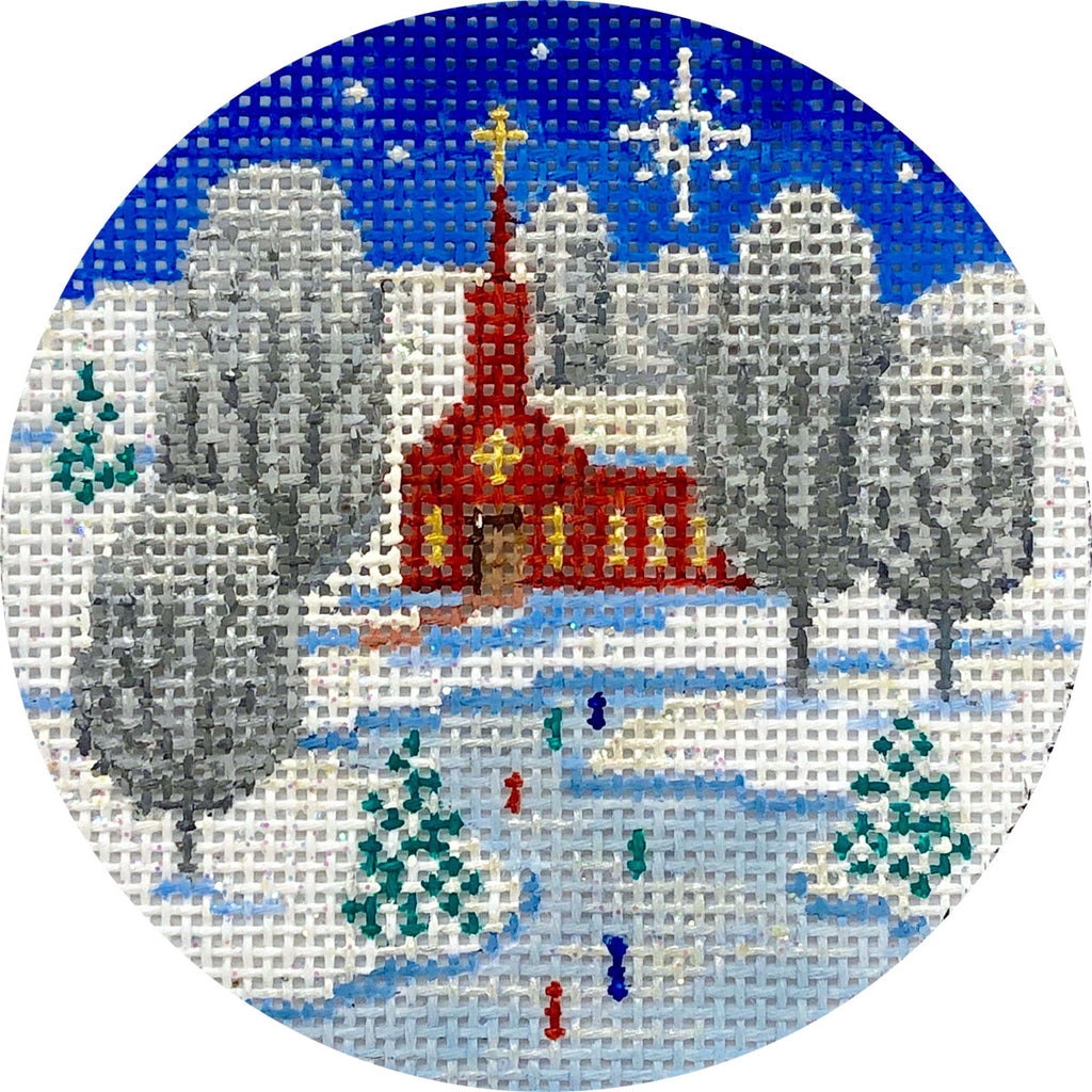 Church Scene Canvas - needlepoint