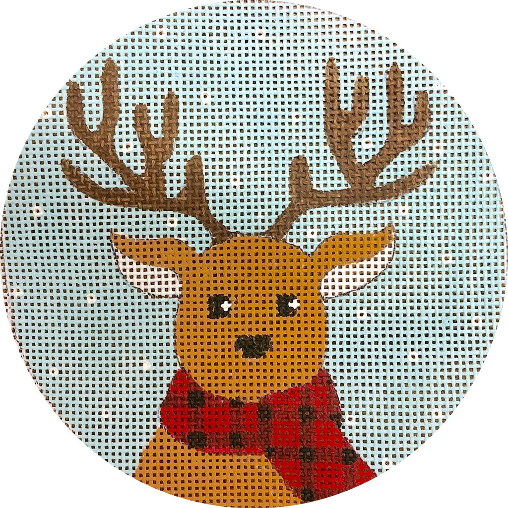 Reindeer in Plaid Scarf Canvas - needlepoint