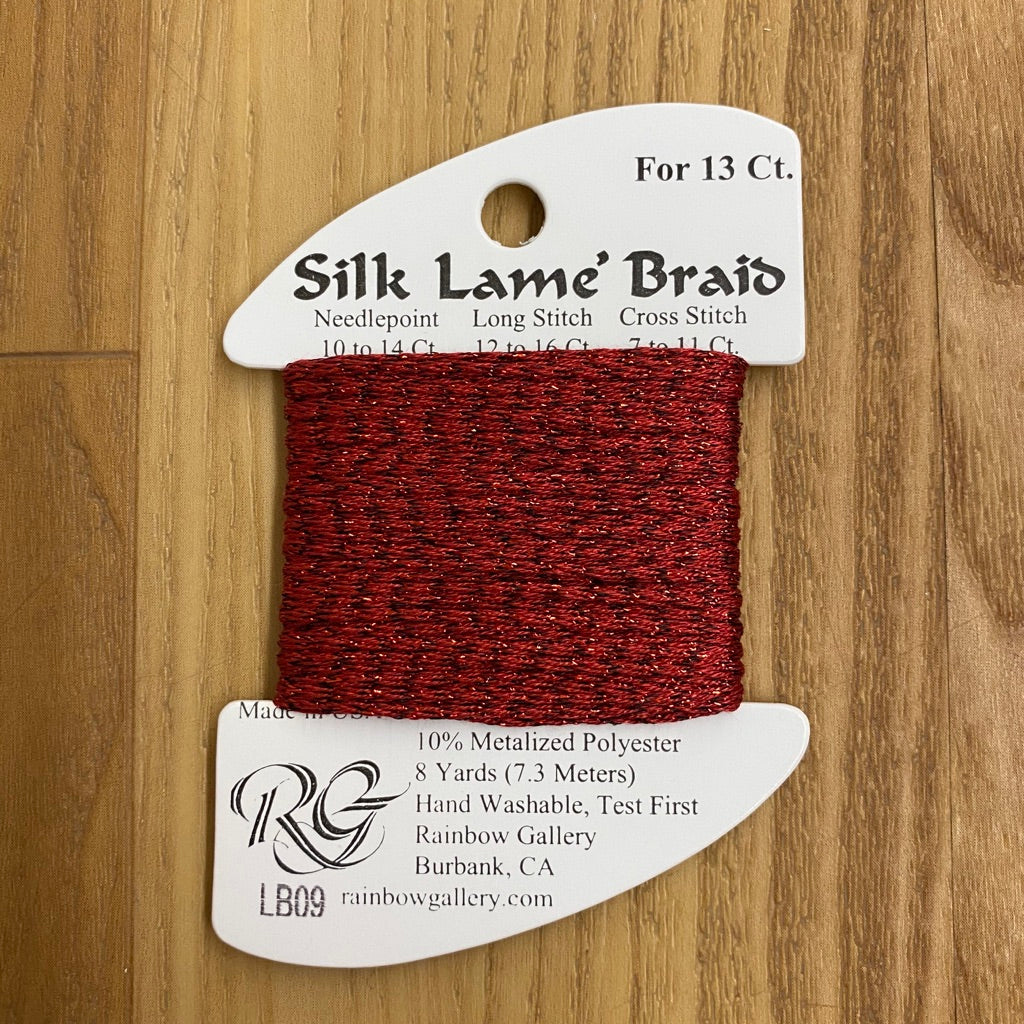 Silk Lamé Braid LB09 Dark Red-Silk Lamé Braid-KC Needlepoint