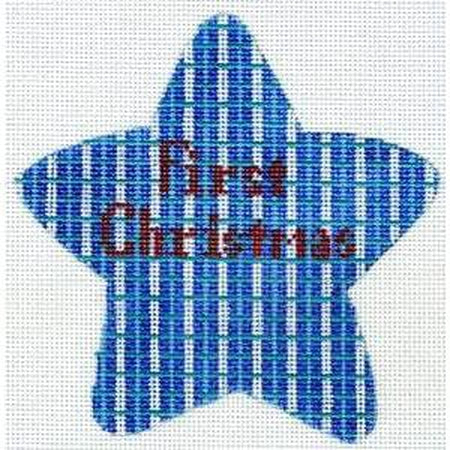 First Christmas Blue Star Canvas-The Meredith Collection-KC Needlepoint