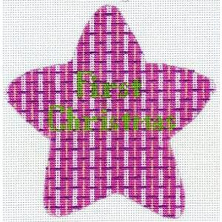 First Christmas Pink Star Canvas-Needlepoint Canvas-The Meredith Collection-KC Needlepoint