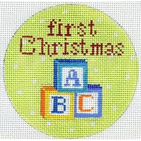 First Christmas Blocks Canvas - needlepoint
