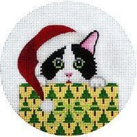 Kitty in Package Ornament Canvas - needlepoint