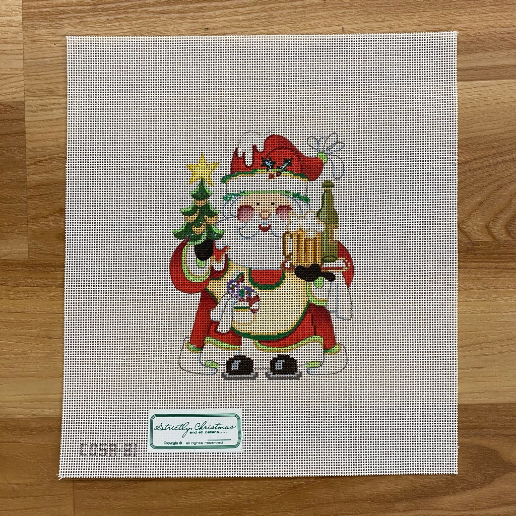 Squatty Santa with Beer Canvas - needlepoint