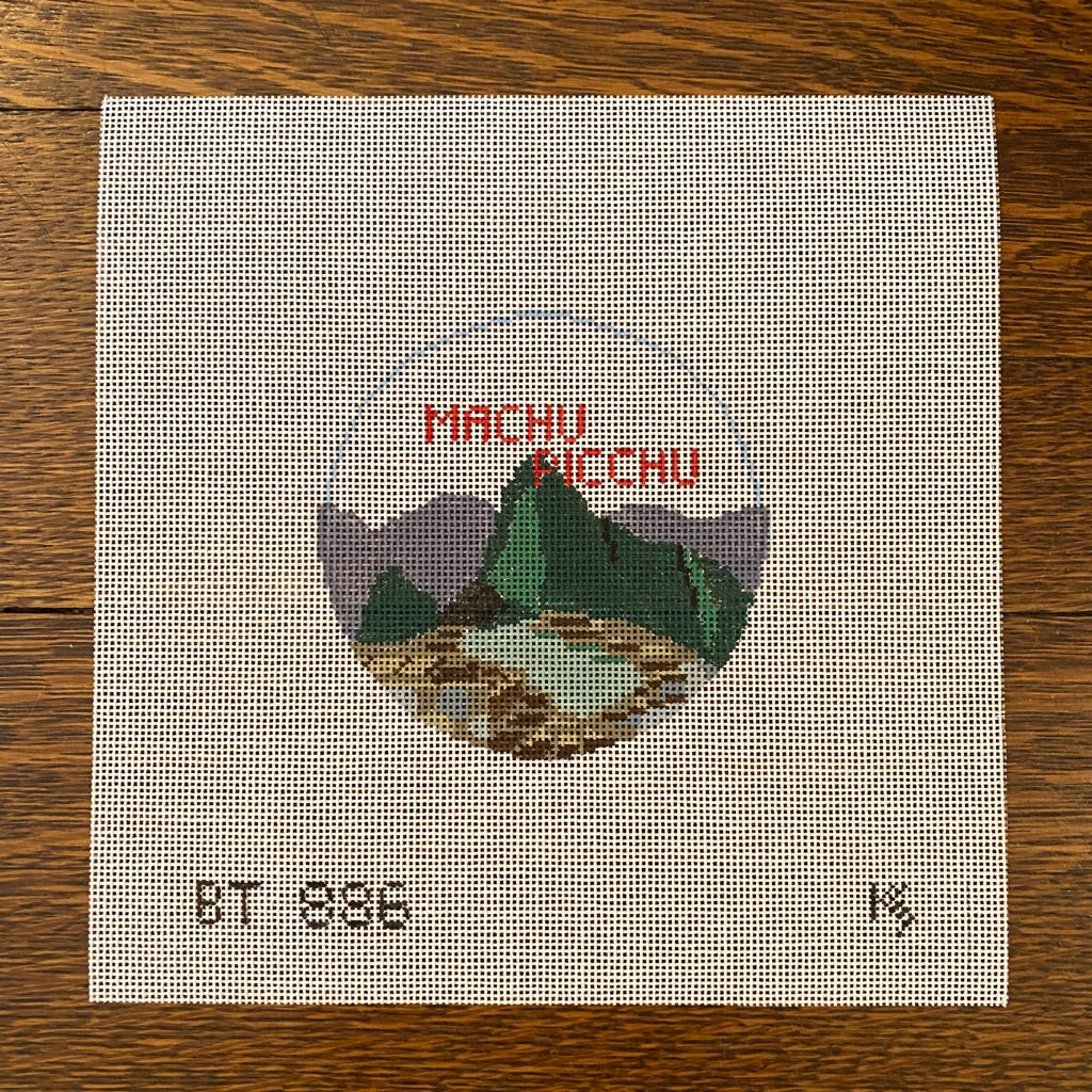 Machu Picchu Travel Round Canvas-Needlepoint Canvas-KC Needlepoint