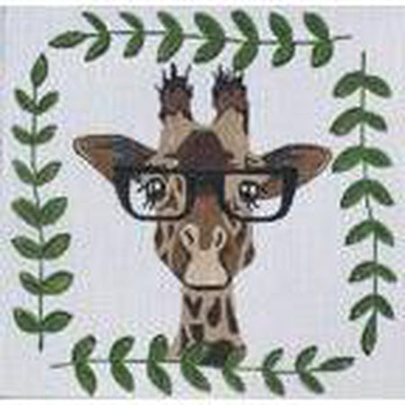 Giraffe with Glasses Canvas - needlepoint