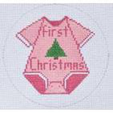 Girl First Christmas Canvas - needlepoint