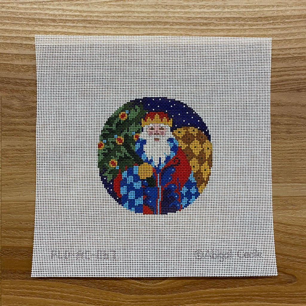 Jacobean Santa Ornament Canvas - needlepoint