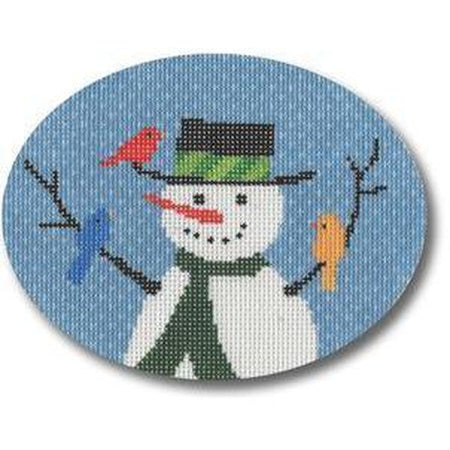 Snowman with Birds Canvas - needlepoint