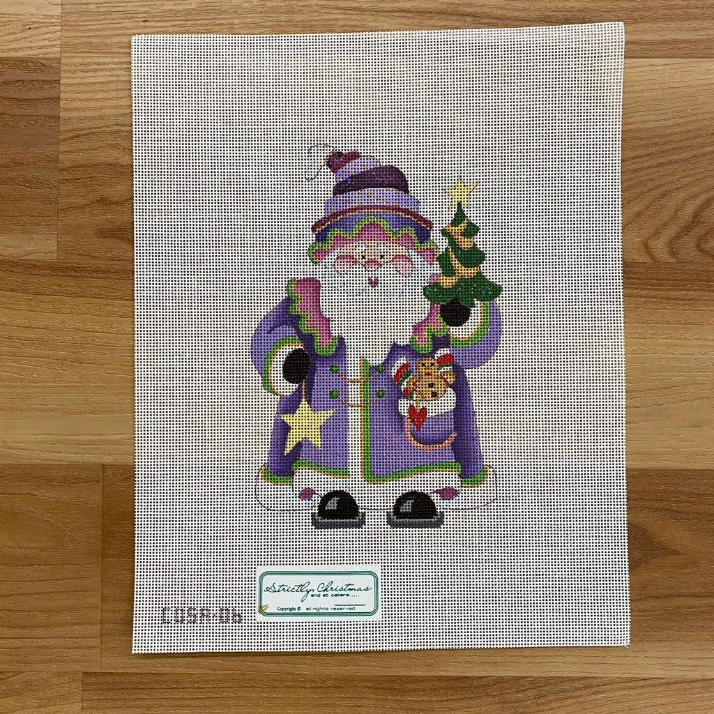 Gingerbread Man and Star Squatty Santa Canvas - needlepoint
