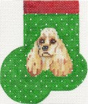 Cocker Spaniel Mini Sock Canvas - needlepoint