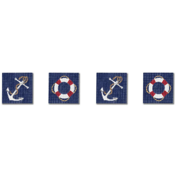 Anchors and Life Rings Coasters Canvas - needlepoint