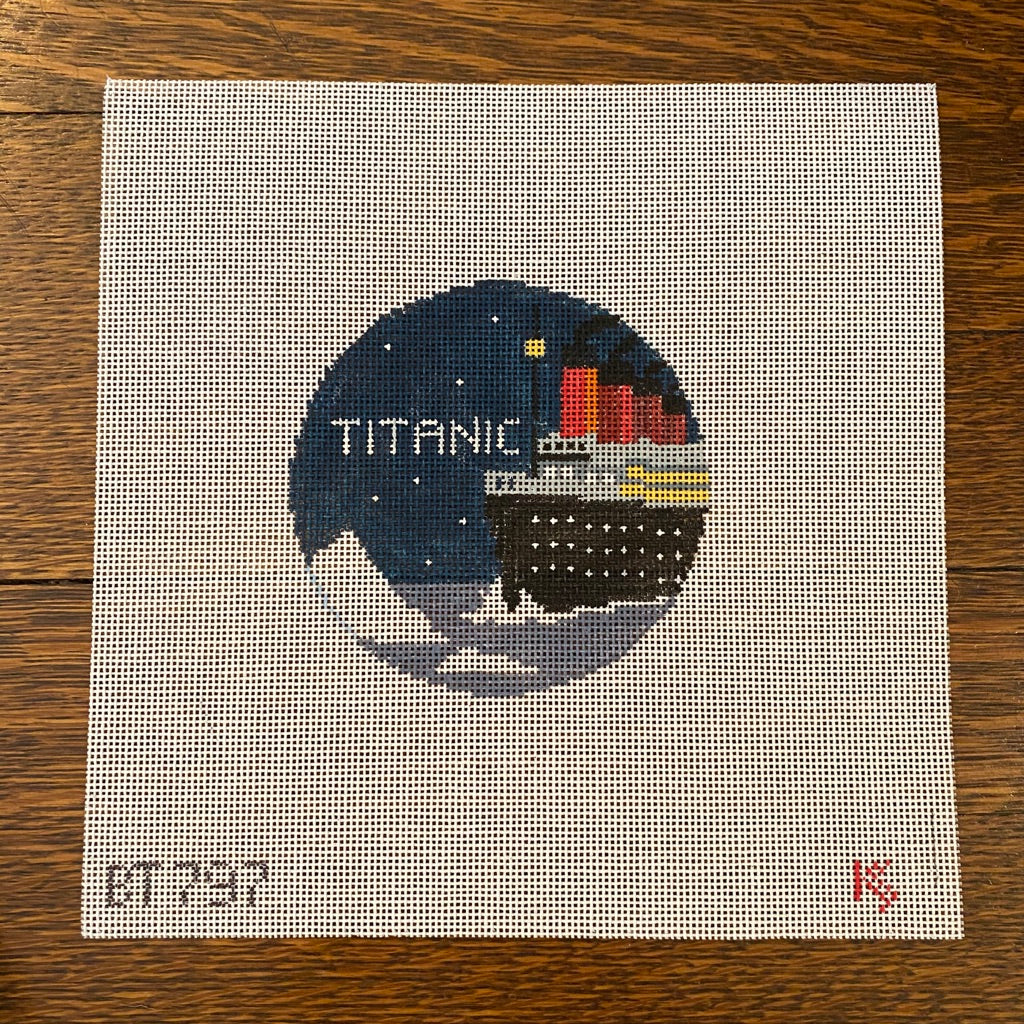 Titanic Travel Round Canvas-Needlepoint Canvas-KC Needlepoint