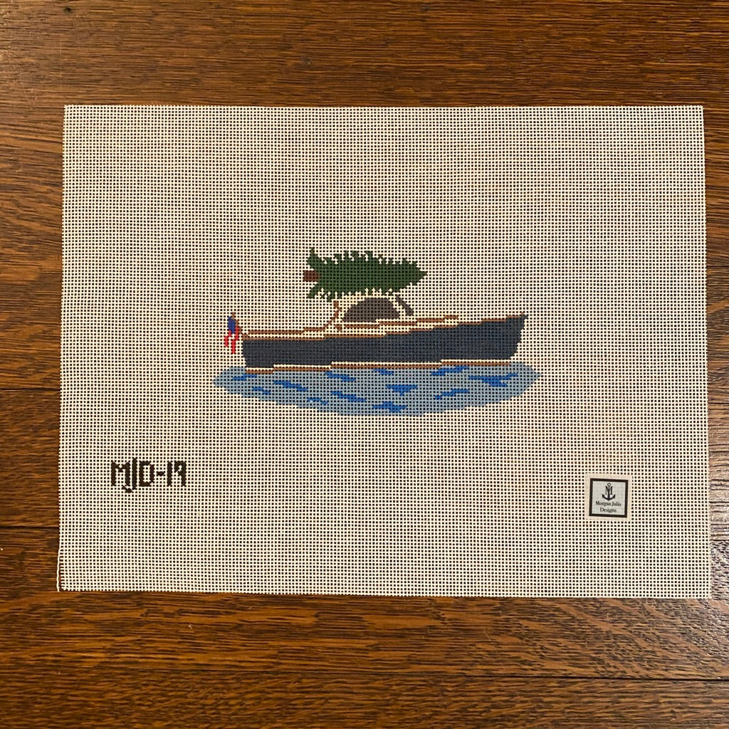 Christmas Tree Delivery Boat Canvas - needlepoint