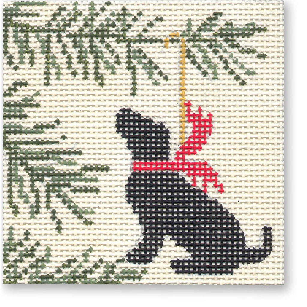 Black Lab Square Canvas - needlepoint