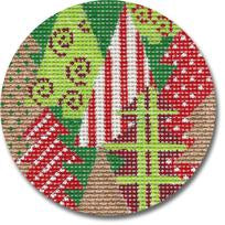 Red and Green Forest Canvas-CBK Needlepoint-KC Needlepoint