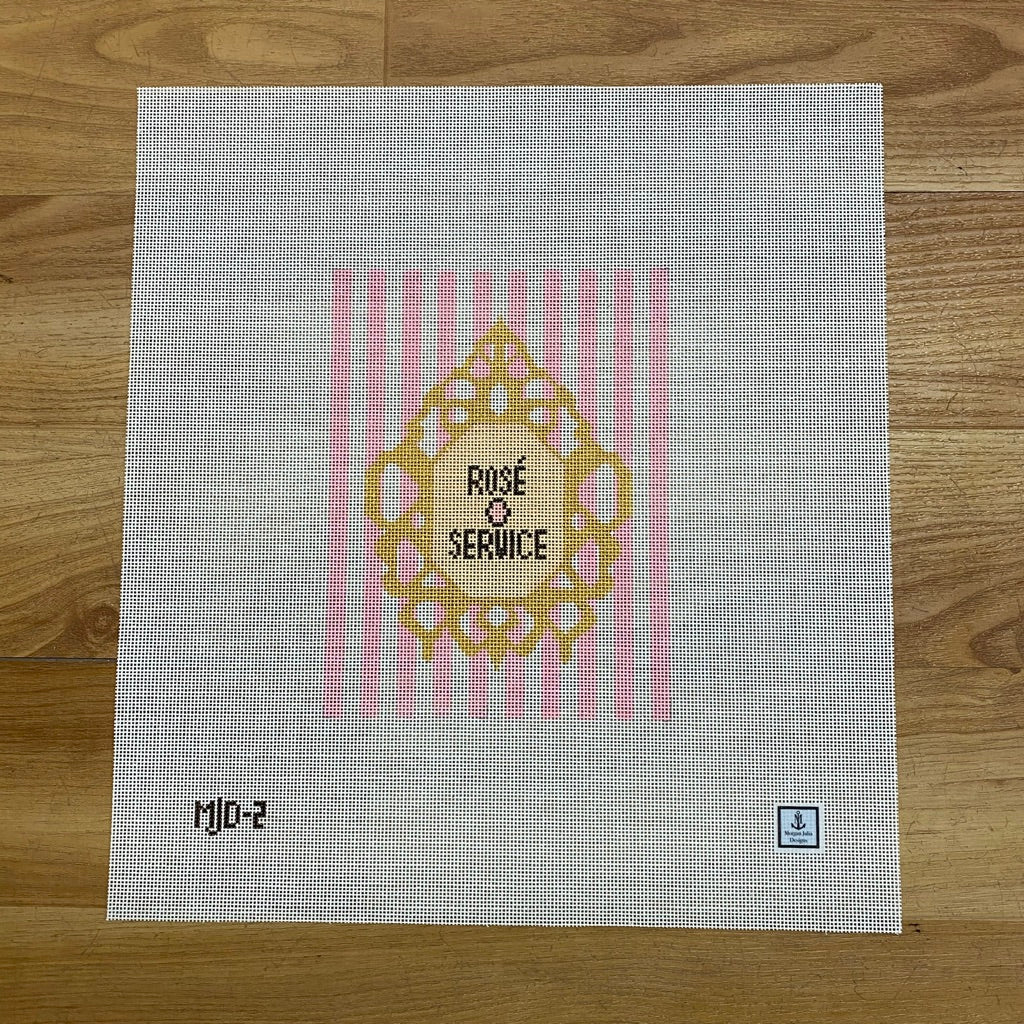 Rosé Service Canvas-Needlepoint Canvas-KC Needlepoint