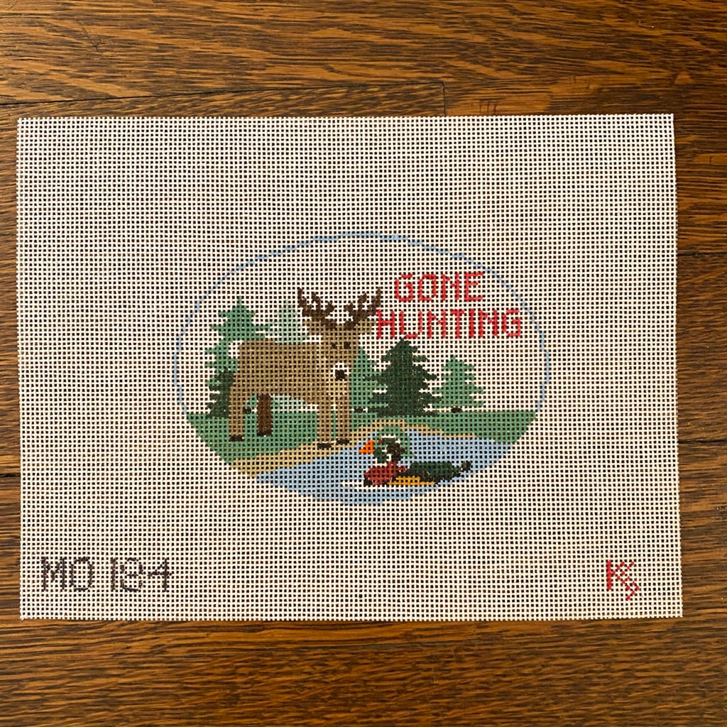 Gone Hunting Oval Canvas - needlepoint