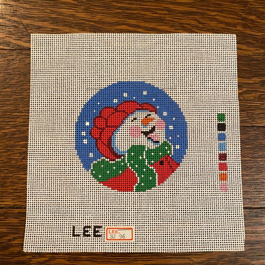 "Happy Snowman 3"" Round Canvas"