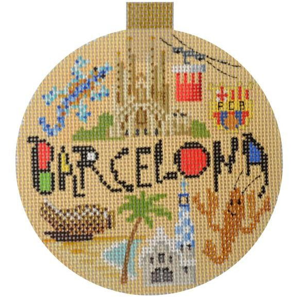 Barcelona Travel Round Needlepoint Canvas - needlepoint