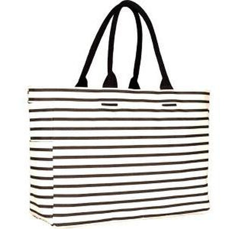 Black Stripe Carryall Tote Bag - needlepoint