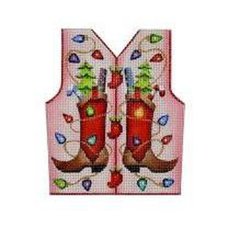 Cowboy Boots Christmas Vest Canvas - needlepoint