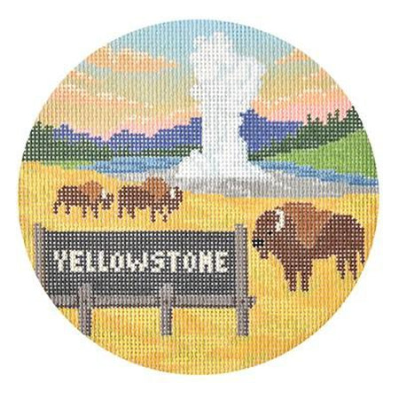 Yellowstone Travel Round Canvas-Needlepoint Canvas-Burnett & Bradley-KC Needlepoint