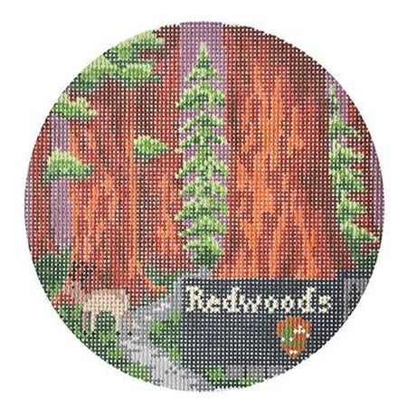 Redwoods Travel Round Canvas - needlepoint
