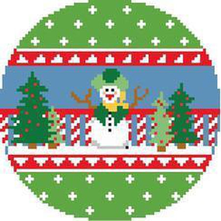 Snowman Round Canvas - needlepoint