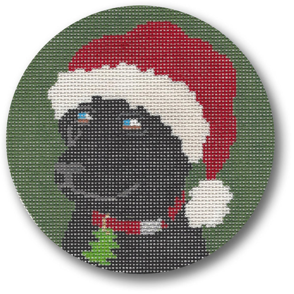 Black Lab with Hat Canvas - needlepoint