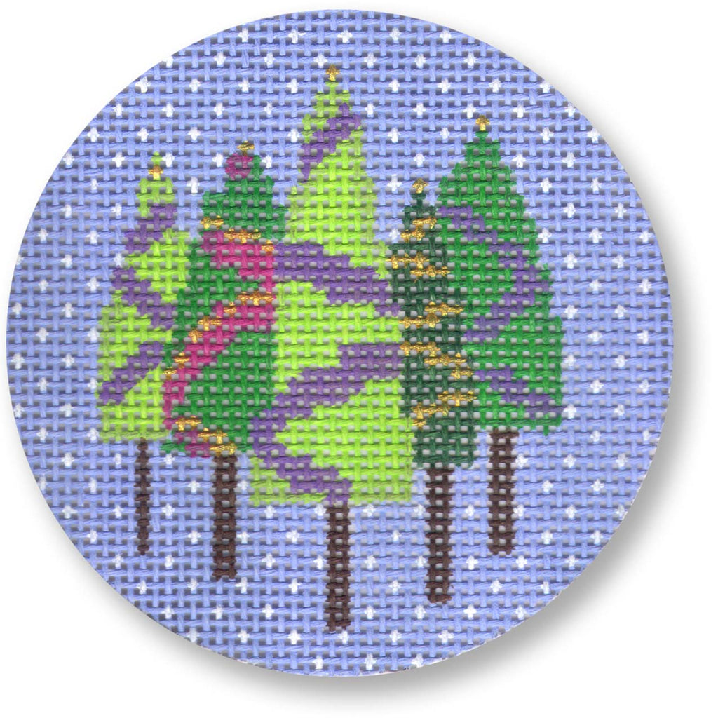 Five Trees on Blue Round Canvas - KC Needlepoint