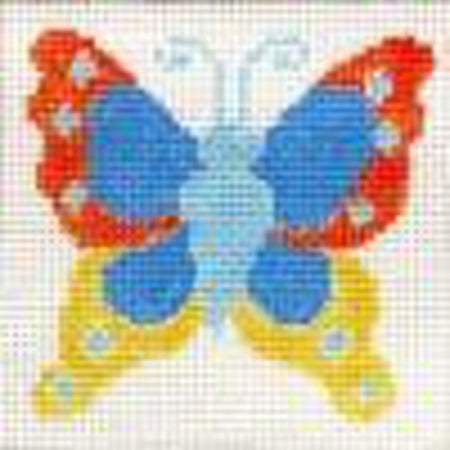 Cinnabar Butterfly Coaster Canvas - needlepoint