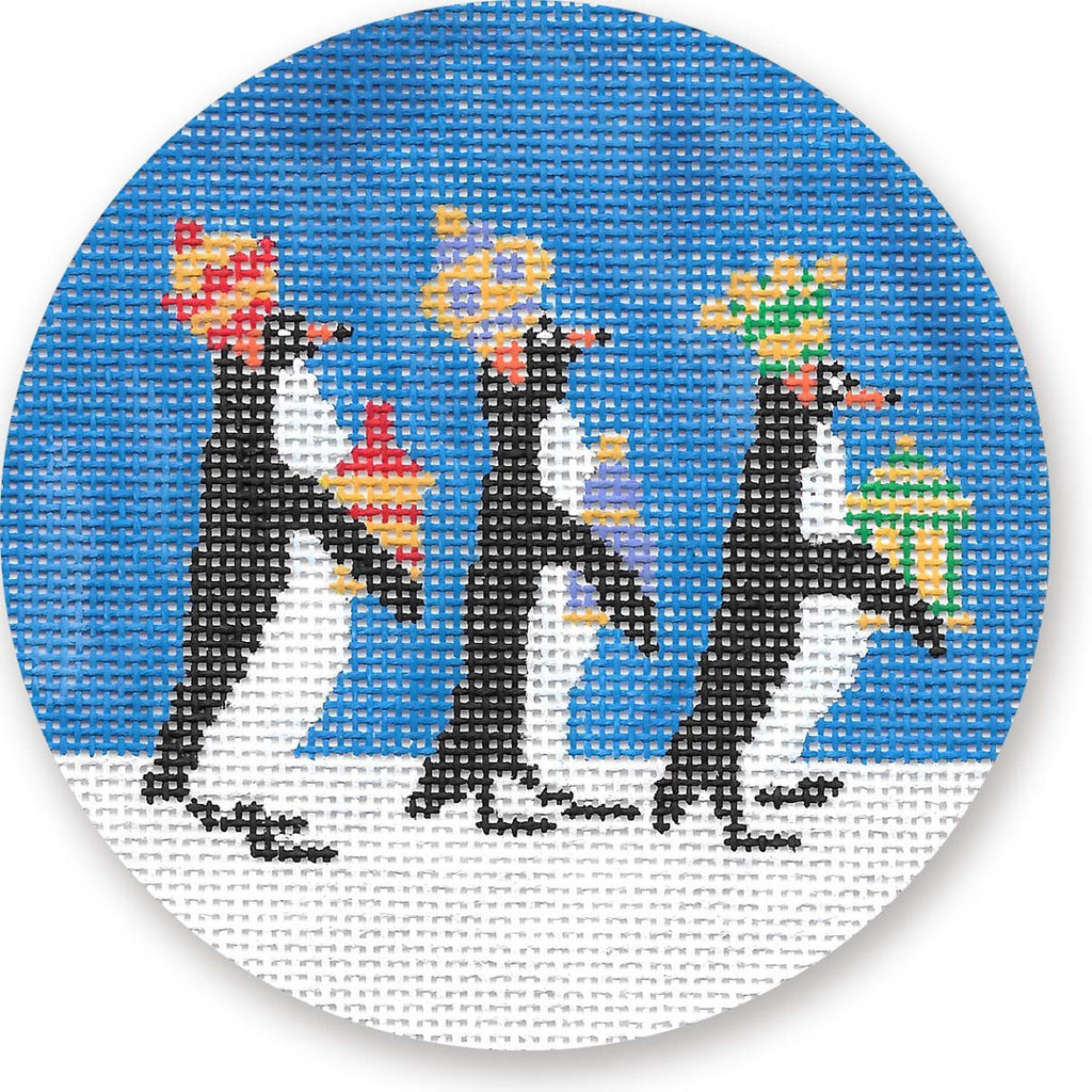 Three Penguin Kings Ornament Canvas-Needlepoint Canvas-CBK Needlepoint-KC Needlepoint