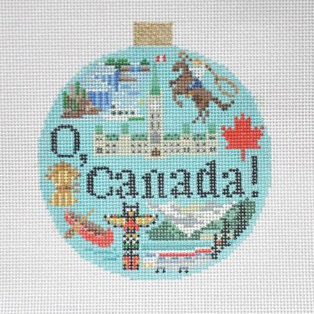 Canada Travel Round Needlepoint Canvas - needlepoint
