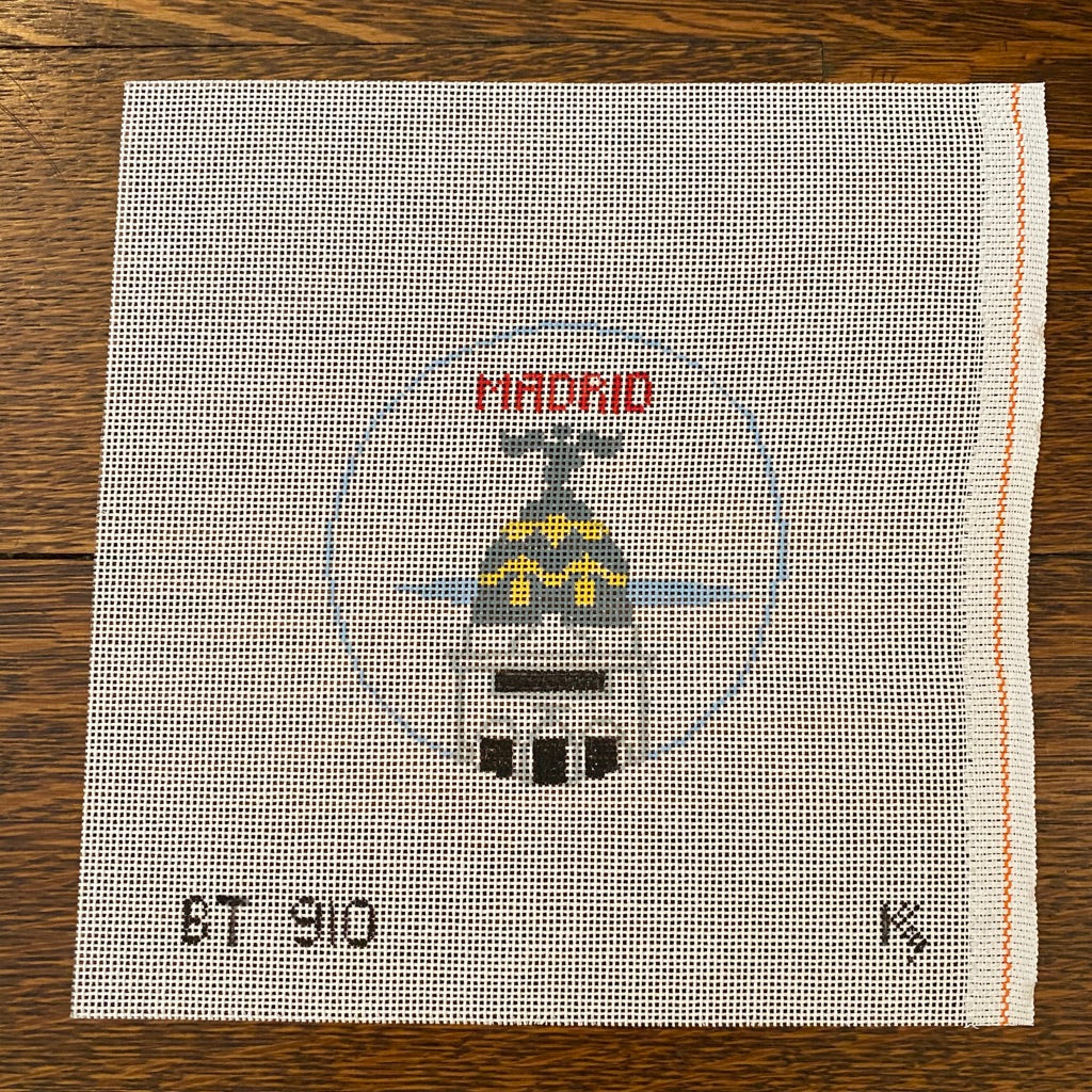 Madrid Travel Round Canvas-Needlepoint Canvas-KC Needlepoint