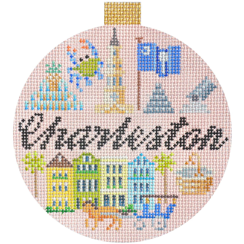 Charleston Travel Round Needlepoint Canvas - needlepoint