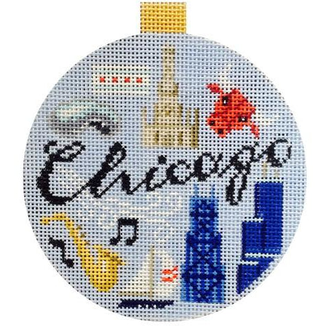 Chicago Travel Round Needlepoint Canvas-Needlepoint Canvas-Kirk and Bradley-KC Needlepoint