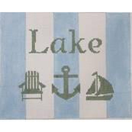 Blue and White Lake Canvas - needlepoint