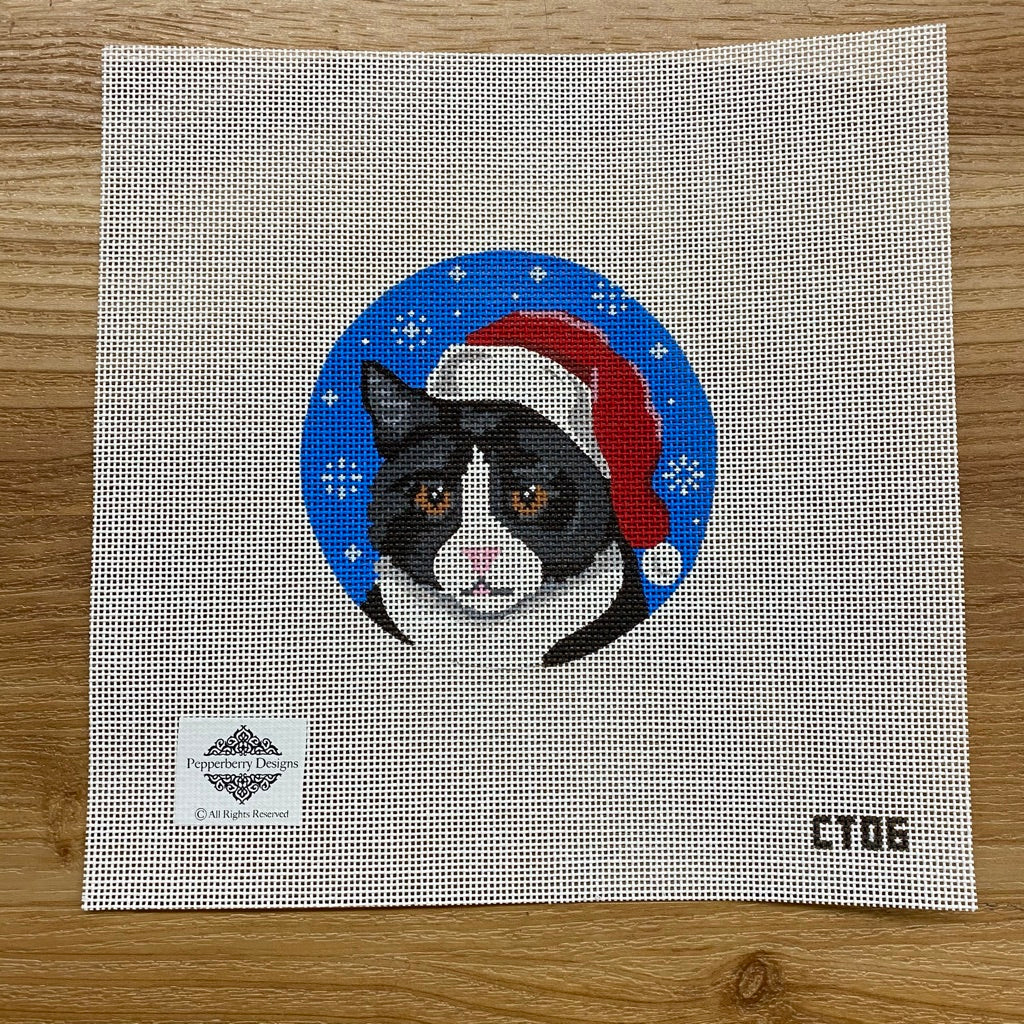 Tuxedo Cat Santa Ornament Canvas - needlepoint