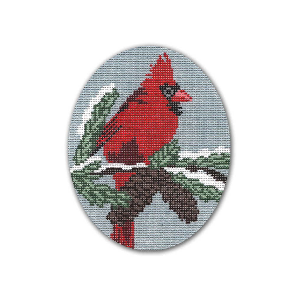 Cardinal with Pinecones Canvas-Needlepoint Canvas-CBK Needlepoint-KC Needlepoint