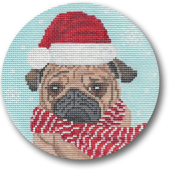 Dog with Scarf Canvas - needlepoint